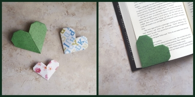 Origami Heart Shaped Paper Bookmark