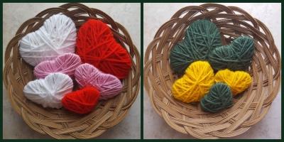 Bowls of yarn hearts