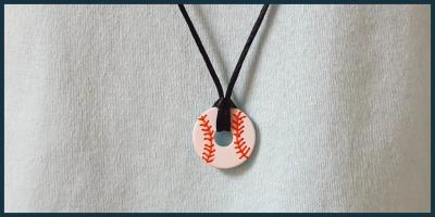Handmade baseball washer necklace
